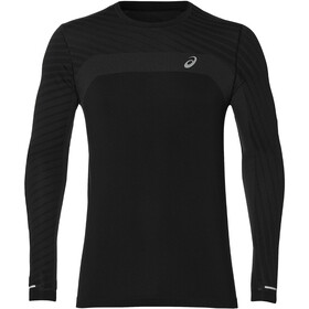 asics Camiseta Manga Larga Texture sin Costuras Hombre, performance black